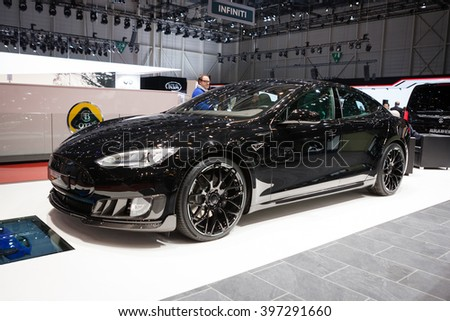 GENEVA, SWITZERLAND - MARCH 1: Geneva Motor Show on March 1, 2016 in Geneva, Brabus Tesla Model S, front-side view - stock photo