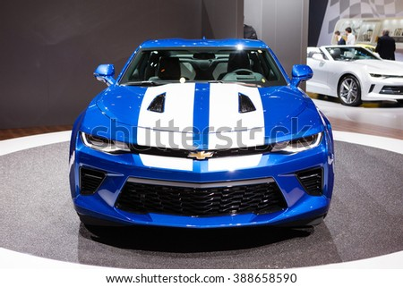 GENEVA, SWITZERLAND - MARCH 1: Geneva Motor Show on March 1, 2016 in Geneva, Chevrolet Camaro, front view - stock photo