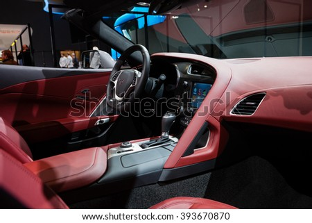 GENEVA, SWITZERLAND - MARCH 1: Geneva Motor Show on March 1, 2016 in Geneva, Chevrolet Corvette, interior view