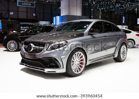 GENEVA, SWITZERLAND - MARCH 1: Geneva Motor Show on March 1, 2016 in Geneva, Hamann Mercedes-Benz GLE Coupe, side-front view - stock photo