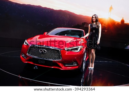 GENEVA, SWITZERLAND - MARCH 1: Geneva Motor Show on March 1, 2016 in Geneva, Infiniti Q60, front-side view - stock photo