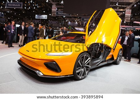 GENEVA, SWITZERLAND - MARCH 1: Geneva Motor Show on March 1, 2016 in Geneva, Italdesign GTZero Concept, front-side view - stock photo