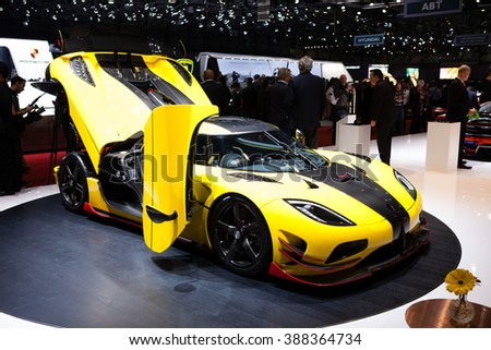 GENEVA, SWITZERLAND - MARCH 1: Geneva Motor Show on March 1, 2016 in Geneva, Koenigsegg Agera ML, side-front view - stock photo