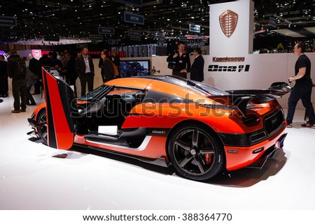 GENEVA, SWITZERLAND - MARCH 1: Geneva Motor Show on March 1, 2016 in Geneva, Koenigsegg One of One, rear-side view - stock photo