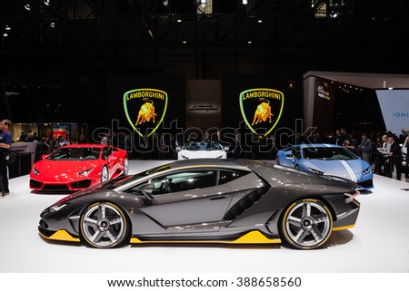 GENEVA, SWITZERLAND - MARCH 1: Geneva Motor Show on March 1, 2016 in Geneva, Lamborghini Centenario, side view - stock photo