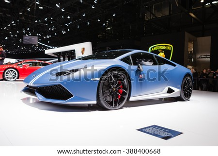 GENEVA, SWITZERLAND - MARCH 1: Geneva Motor Show on March 1, 2016 in Geneva, Lamborghini Huracan LP 610-4 Avio, front-side view - stock photo