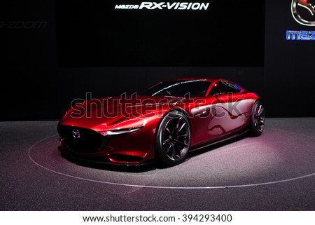 GENEVA, SWITZERLAND - MARCH 1: Geneva Motor Show on March 1, 2016 in Geneva, Mazda RX-Vison Concept, front-side view