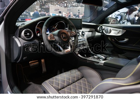GENEVA, SWITZERLAND - MARCH 1: Geneva Motor Show on March 1, 2016 in Geneva, Mercedes-AMG C 63 S Coupe, interior view - stock photo