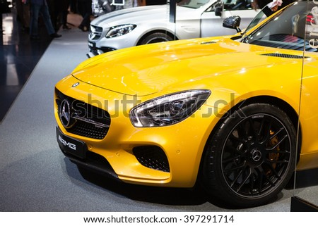 GENEVA, SWITZERLAND - MARCH 1: Geneva Motor Show on March 1, 2016 in Geneva, Mercedes-AMG GT, front view - stock photo