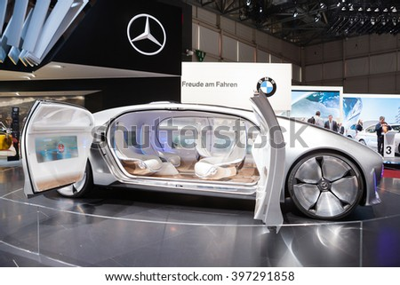 GENEVA, SWITZERLAND - MARCH 1: Geneva Motor Show on March 1, 2016 in Geneva, Mercedes-Benz F 015 Concept Vehicle, side view - stock photo