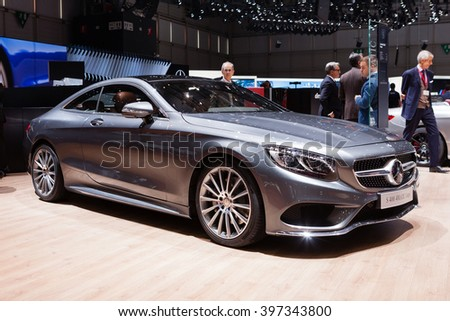 GENEVA, SWITZERLAND - MARCH 1: Geneva Motor Show on March 1, 2016 in Geneva, Mercedes-Benz S400 4Matic Coupe, rear-side view - stock photo