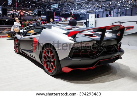 GENEVA, SWITZERLAND - MARCH 1: Geneva Motor Show on March 1, 2016 in Geneva, Nimrod AventiRosso Lamborghini Aventador, rear-side view - stock photo