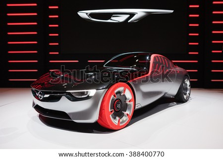 GENEVA, SWITZERLAND - MARCH 1: Geneva Motor Show on March 1, 2016 in Geneva, Opel GT Concept, front-side view - stock photo