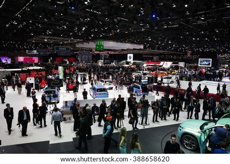 GENEVA, SWITZERLAND - MARCH 1: Geneva Motor Show on March 1, 2016 in Geneva, Skoda and Volkswagen stand wide view - stock photo