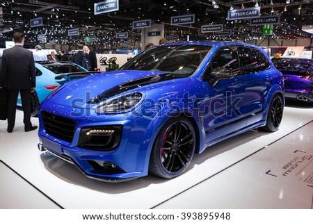 GENEVA, SWITZERLAND - MARCH 1: Geneva Motor Show on March 1, 2016 in Geneva, TechArt Magnum based on Porsche Cayenne, side-front view - stock photo