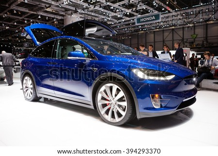 GENEVA, SWITZERLAND - MARCH 1: Geneva Motor Show on March 1, 2016 in Geneva, Tesla Model X, front-side view - stock photo