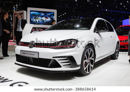GENEVA, SWITZERLAND - MARCH 1: Geneva Motor Show on March 1, 2016 in Geneva, Volkswagen Golf GTI Clubsport, side-front view - stock photo