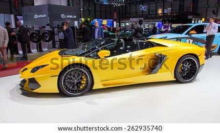GENEVA, SWITZERLAND - MARCH 3, 2015: Hamann Lamborghini Aventador Roadster at the 85th International Geneva Motor Show in Palexpo, Geneva. - stock photo