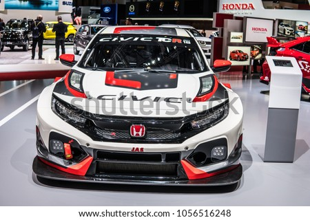 Geneva, Switzerland, March 06, 2018: Honda CIVIC Type R TCR Racing
