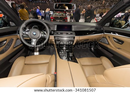 GENEVA, SWITZERLAND - MARCH 4, 2015: Interior of the BMW 530d xDrive Touring at the 85th International Geneva Motor Show in Palexpo, Geneva.