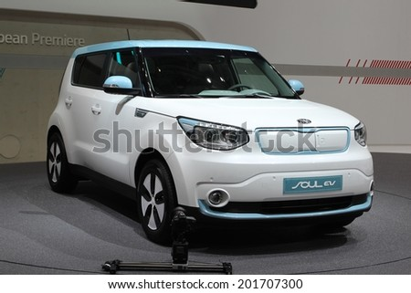 GENEVA, SWITZERLAND - MARCH 4, 2014: 2014 Kia Soul EV presented at the 84th International Geneva Motor Show on March 4, 2014 in Palexpo, Geneva, Switzerland