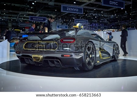 Geneva, Switzerland - March 8, 2017: 2017 Koenigsegg Agera RS presented on the 87-th Geneva International Motor Show in the PalExpo