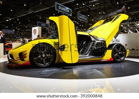 Geneva, Switzerland - March 1, 2016: 2016 Koenigsegg Agera RS presented on the 86th Geneva Motor Show in the PalExpo