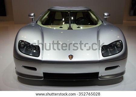 GENEVA, SWITZERLAND - MARCH 3, 2015: Koenigsegg CC 8S sports car at the 85th International Geneva Motor Show in Palexpo, Geneva. - stock photo