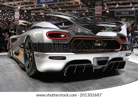 GENEVA, SWITZERLAND - MARCH 4, 2014: 2014 Koenigsegg One-1 presented at the 84th International Geneva Motor Show on March 4, 2014 in Palexpo, Geneva, Switzerland