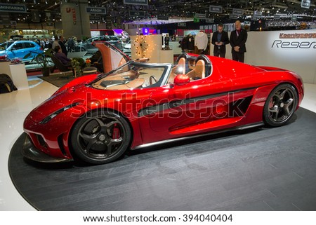 GENEVA, SWITZERLAND - MARCH 2, 2016: Koenigsegg Regera plug-in hybrid supercar shown at the 86th International Geneva Motor Show in Palexpo, Geneva. - stock photo