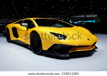 GENEVA, SWITZERLAND - MARCH 3, 2015: Lamborghini Aventador LP 750-4 SuperVeloce revealed at the 85th International Geneva Motor Show in Palexpo. - stock photo