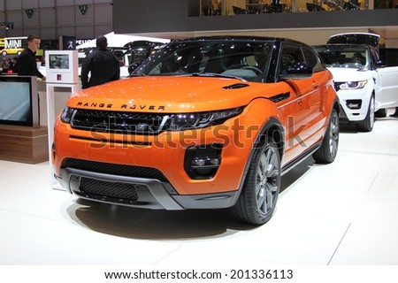 GENEVA, SWITZERLAND - MARCH 4, 2014: 2015 Land Rover Evoque Autobiography presented at the 84th International Geneva Motor Show on March 4, 2014 in Palexpo, Geneva, Switzerland