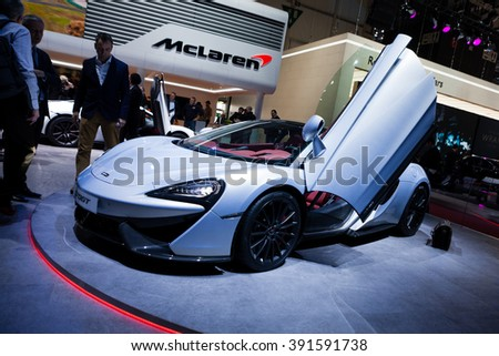 Geneva, Switzerland - March 1, 2016: McLaren 570GT, front-side view presented on the 86th Geneva Motor Show in the PalExpo - stock photo