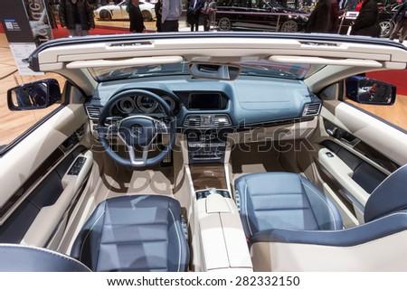GENEVA, SWITZERLAND - MARCH 4, 2015: Mercedes E400 interior at the 85th International Geneva Motor Show in Palexpo, Geneva. - stock photo