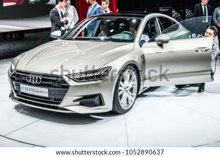 Geneva, Switzerland, March 06, 2018: Metallic Silver Audi A7 Limousine 55  TFSI