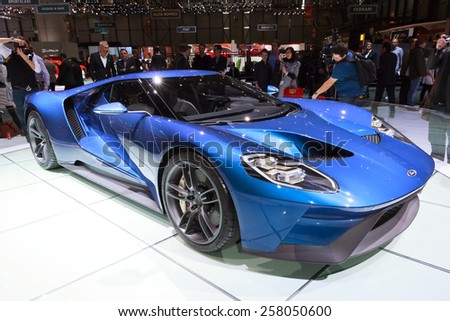 GENEVA, SWITZERLAND - MARCH 3, 2015: New Ford GT Supercar at the 85th International Geneva Motor Show in Palexpo. - stock photo
