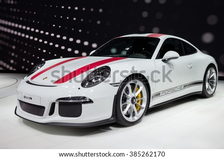 GENEVA, SWITZERLAND - MARCH 1, 2016: New 2017 Porsche 911R reveiled at the 86th International Geneva Motor Show in Palexpo, Geneva. - stock photo