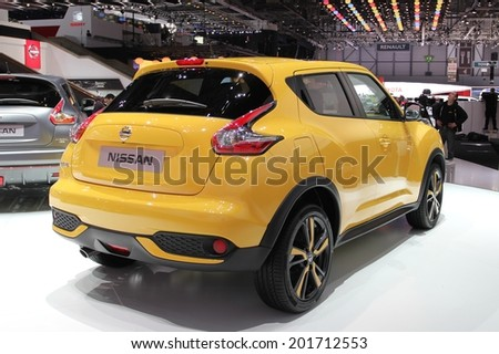 GENEVA, SWITZERLAND - MARCH 4, 2014: 2014 Nissan Juke presented at the 84th International Geneva Motor Show on March 4, 2014 in Palexpo, Geneva, Switzerland