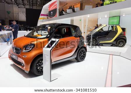 GENEVA, SWITZERLAND - MARCH 4, 2015: Smart cars shown at the 85th International Geneva Motor Show in Palexpo, Geneva. - stock photo