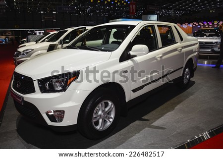 GENEVA, SWITZERLAND - MARCH 4, 2014: Ssangyong Korando Sports pickup on display during the Geneva Motor Show.