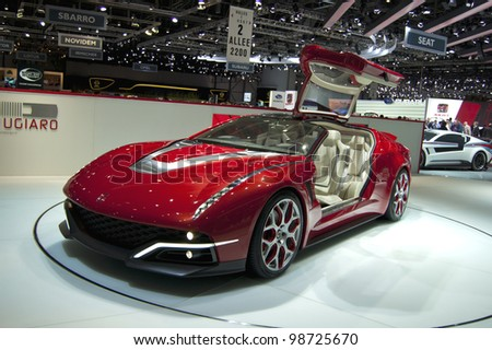 GENEVA SWITZERLAND - MARCH 12: The Giugiaro Stand displaying a full view with open gullwing door of their new Concept, at the Geneva Motorshow on March 12th, 2012 in Geneva, Switzerland. - stock photo