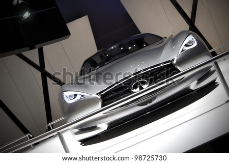 Perfect GENEVA SWITZERLAND   MARCH 12: The Infiniti Stand Displaying A Full Front  View Of The