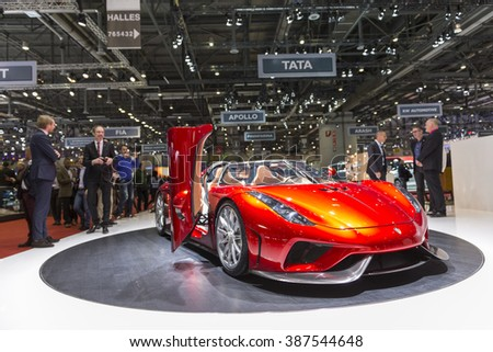 GENEVA, SWITZERLAND - MARCH 2, 2016: The Koenigsegg Regera world premiere production model at the Geneva Motor Show. - stock photo