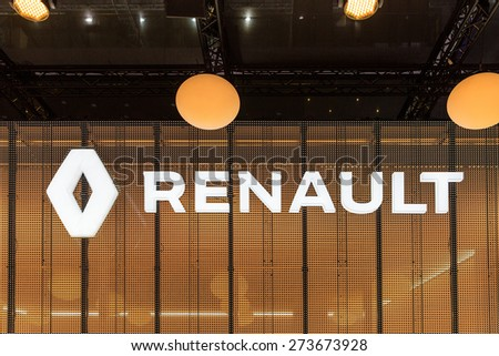 GENEVA, SWITZERLAND - MARCH 3, 2015: The Renault stand at the Geneva Motor show. Renault is present in 125 countries sold 2.7 million vehicles in 2014. - stock photo