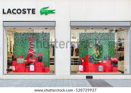 GENEVA, SWITZERLAND - NOVEMBER 30, 2016: A Lacoste store. Lacoste is a French apparel company that sells high-end clothing, most famously tennis shirts.
