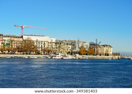 GENEVA, SWITZERLAND - NOVEMBER 18, 2015: view of Lake Geneva. Lake Geneva is a lake on the north side of the Alps, shared between Switzerland and France