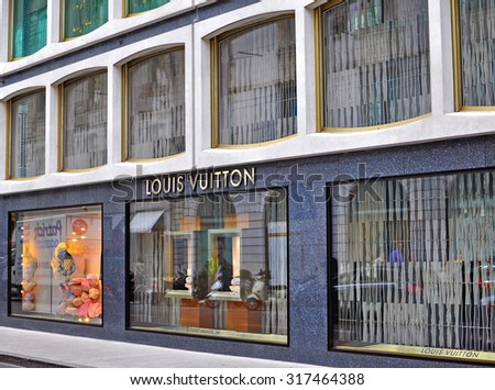 GENEVA, SWITZERLAND - SEPTEMBER 3, 2015: Facade of Louis Vuitton store in Geneva on September 3, 2015. Louis Vuitton is a world famous fashion brand founded in France.