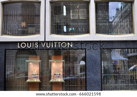 GENEVA, SWITZERLAND - SEPTEMBER 3, 2015: Facade of Louis Vuitton store in the shopping street of Geneva on September 3, 2015. Louis Vuitton is a world famous fashion brand founded in France.