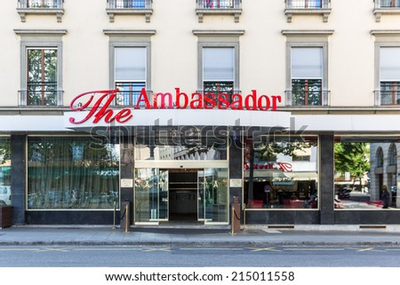 GENEVA, SWITZERLAND - SEPTEMBER 2, 2014: The four star Ambassador Hotel. The hotel was built in 1966, has 64 rooms and is situated on the shores of Lake Geneva.