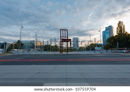 GENEVA, SWITZERLAND - SEPTEMBER 29: The square at UN headquarters with the World IP Office and Broken Chair in Geneva, Switzerland on September 29, 2010. The UN deals with world issues daily - stock photo